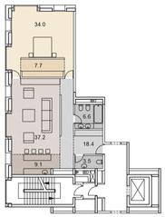 ЖК «Savvin River Residence», планировка 2-комнатной квартиры, 116.50 м²