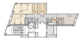 ЖК «Savvin River Residence», планировка 3-комнатной квартиры, 86.90 м²