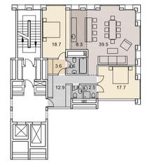 ЖК «Savvin River Residence», планировка 3-комнатной квартиры, 109.70 м²