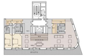 ЖК «Savvin River Residence», планировка 3-комнатной квартиры, 249.10 м²