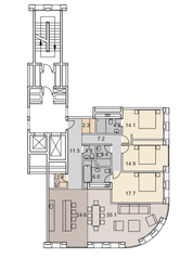 ЖК «Savvin River Residence», планировка 4-комнатной квартиры, 144.10 м²