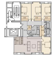 ЖК «Savvin River Residence», планировка 5-комнатной квартиры, 173.20 м²