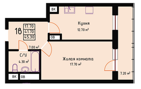 ЖК «Red Hills», планировка 1-комнатной квартиры, 45.30 м²