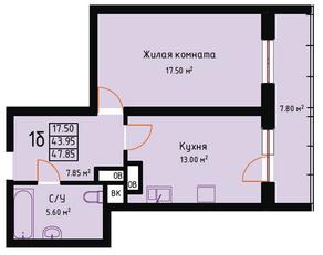 ЖК «Red Hills», планировка 1-комнатной квартиры, 47.85 м²