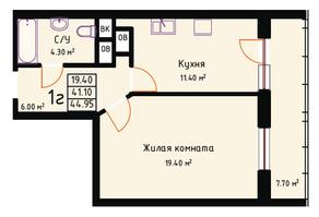 ЖК «Red Hills», планировка 1-комнатной квартиры, 44.95 м²