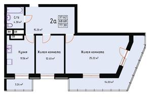 ЖК «Red Hills», планировка 2-комнатной квартиры, 77.30 м²