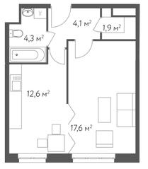 ЖК «Счастье в Кусково», планировка 1-комнатной квартиры, 40.50 м²