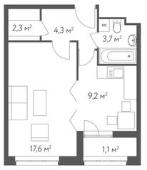 ЖК «Счастье в Кусково», планировка 1-комнатной квартиры, 38.20 м²