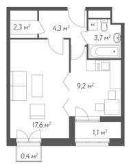 ЖК «Счастье в Кусково», планировка 1-комнатной квартиры, 38.60 м²