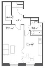 ЖК «Счастье в Кусково», планировка 1-комнатной квартиры, 47.80 м²