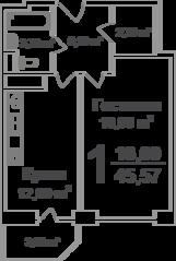 ЖК «Ареал», планировка 1-комнатной квартиры, 45.57 м²
