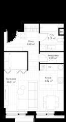 МФК «STORY», планировка студии, 41.54 м²