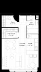 МФК «STORY», планировка студии, 43.13 м²
