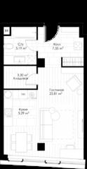 МФК «STORY», планировка студии, 44.62 м²