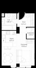 МФК «STORY», планировка студии, 39.18 м²