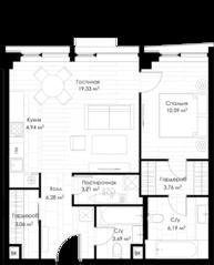 МФК «STORY», планировка 1-комнатной квартиры, 62.98 м²