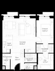 МФК «STORY», планировка 1-комнатной квартиры, 64.01 м²