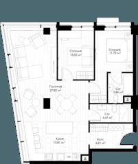 МФК «STORY», планировка 2-комнатной квартиры, 78.83 м²