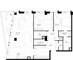 МФК «STORY», планировка 2-комнатной квартиры, 114.47 м²