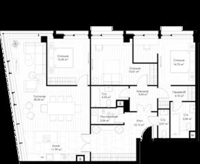 МФК «STORY», планировка 3-комнатной квартиры, 126.62 м²