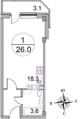МЖК «Новое Бисерово 2», планировка студии, 26.00 м²