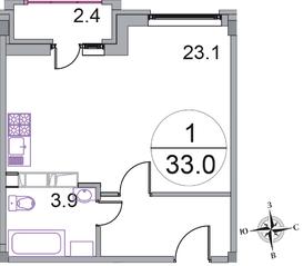 МЖК «Новое Бисерово 2», планировка студии, 33.00 м²