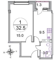 МЖК «Новое Бисерово 2», планировка 1-комнатной квартиры, 32.50 м²