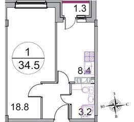МЖК «Новое Бисерово 2», планировка 1-комнатной квартиры, 34.50 м²