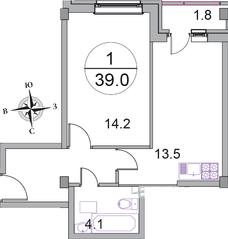 МЖК «Новое Бисерово 2», планировка 1-комнатной квартиры, 39.00 м²