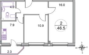 МЖК «Новое Бисерово 2», планировка 2-комнатной квартиры, 46.50 м²