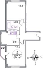 МЖК «Новое Бисерово 2», планировка 2-комнатной квартиры, 57.00 м²