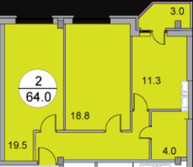 МЖК «Новое Бисерово 2», планировка 2-комнатной квартиры, 64.00 м²