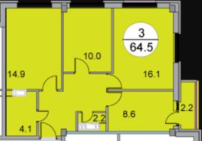 МЖК «Новое Бисерово 2», планировка 3-комнатной квартиры, 64.50 м²