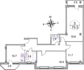 МЖК «Новое Бисерово 2», планировка 3-комнатной квартиры, 75.50 м²