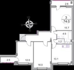 МЖК «Новое Бисерово 2», планировка 3-комнатной квартиры, 74.00 м²