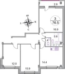 МЖК «Новое Бисерово 2», планировка 3-комнатной квартиры, 76.50 м²