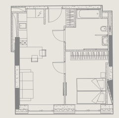 МФК «YE'S Ботанический сад», планировка 1-комнатной квартиры, 40.03 м²