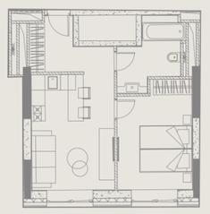 МФК «YE'S Ботанический сад», планировка 1-комнатной квартиры, 37.19 м²