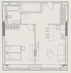 МФК «YE'S Ботанический сад», планировка 1-комнатной квартиры, 51.61 м²