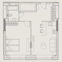 МФК «YE'S Ботанический сад», планировка 1-комнатной квартиры, 51.39 м²