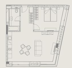МФК «YE'S Ботанический сад», планировка 1-комнатной квартиры, 52.10 м²