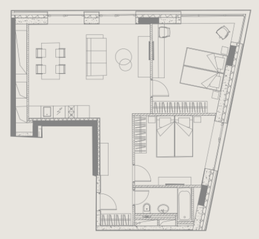 МФК «YE'S Ботанический сад», планировка 2-комнатной квартиры, 68.66 м²