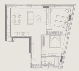 МФК «YE'S Ботанический сад», планировка 2-комнатной квартиры, 68.50 м²