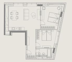 МФК «YE'S Ботанический сад», планировка 2-комнатной квартиры, 68.59 м²