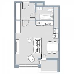 ЖК Квартал «Краски жизни», планировка студии, 33.70 м²
