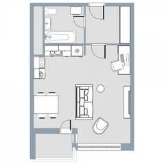 ЖК Квартал «Краски жизни», планировка студии, 34.60 м²