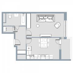 ЖК Квартал «Краски жизни», планировка 1-комнатной квартиры, 44.10 м²