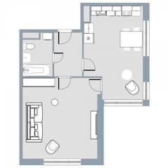 ЖК Квартал «Краски жизни», планировка 1-комнатной квартиры, 50.50 м²