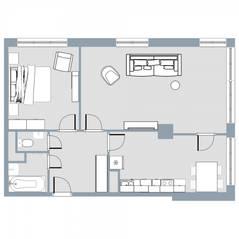 ЖК Квартал «Краски жизни», планировка 2-комнатной квартиры, 61.80 м²