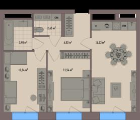 МФК «Зорге 9», планировка 2-комнатной квартиры, 53.89 м²